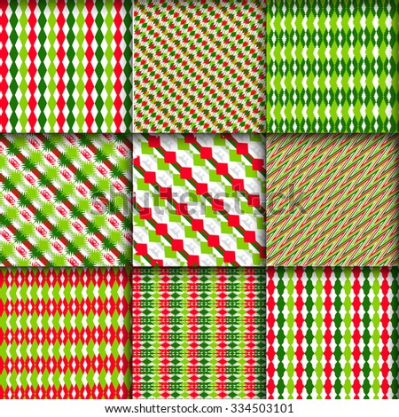 Christmas patterns Merry Christmas and Happy New Year Invitation patterns. Pattern in zigzag