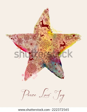 Christmas Peace love and joy vintage hand drawn watercolor star greeting card. EPS10 vector file organized in layers for easy editing. - stock vector