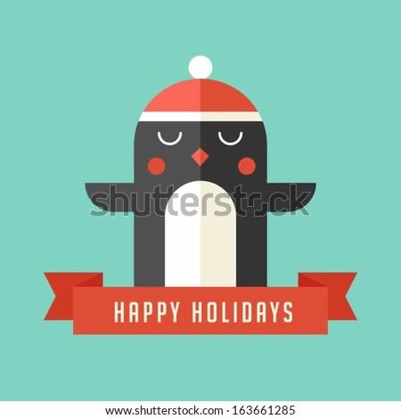 Christmas penguin greeting - stock vector