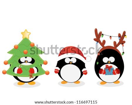 Christmas Penguin Set - stock vector