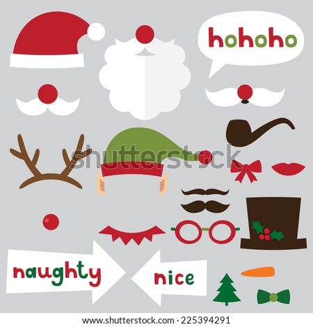 Christmas photo booth and scrapbooking vector set (Santa, deer, elf, snowman, naughty and nice signs) - stock vector