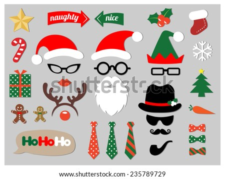 Christmas photo booth props - stock vector