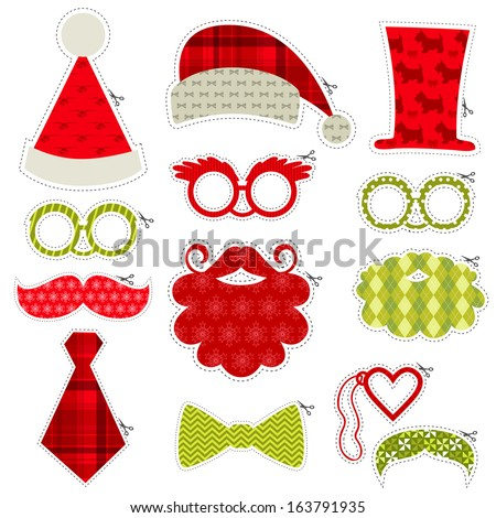 Christmas Photobooth Party set - Glasses, hats, lips, mustaches, masks - in vector - stock vector