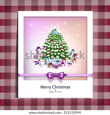 Christmas picture on the table cloth in vector