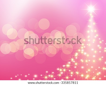 Christmas pink background with Christmas tree bokeh, vector illustration. - stock vector