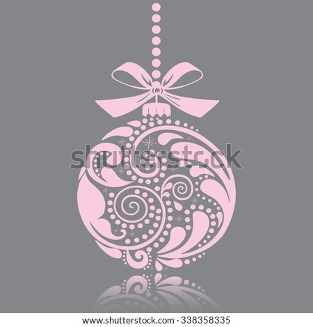 Christmas pink print. Christmas toy. Isolated object. - stock vector