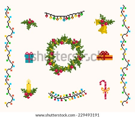 Christmas pixel  icons set vector and raster - stock vector