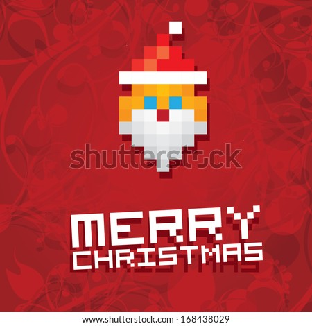 Christmas pixel style hipster poster for party or greeting card. Pixel art merry christmas Vector illustration. Pixel santa claus with beard and mustache