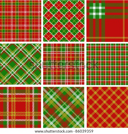 Christmas plaid patterns - stock vector