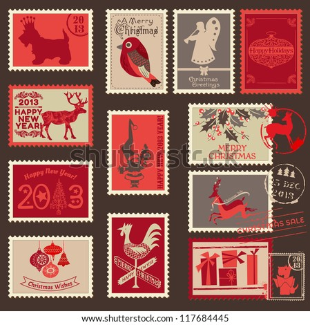 Christmas Postage Stamps - for design, scrapbook - in vector - stock vector