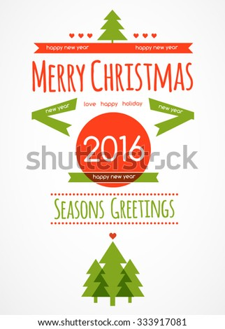 Christmas postcard decoration background. Vector illustration Eps 10. Happy new year message, Happy holidays 2016. Merry christmas. - stock vector