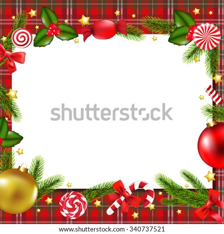 Christmas Postcard With Gradient Mesh, Vector Illustration - stock vector