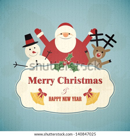 Christmas postcard with Santa Claus, a snowman and a deer. EPS10 retro vector background. - stock vector