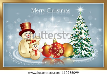 christmas postcard with snowman - stock vector
