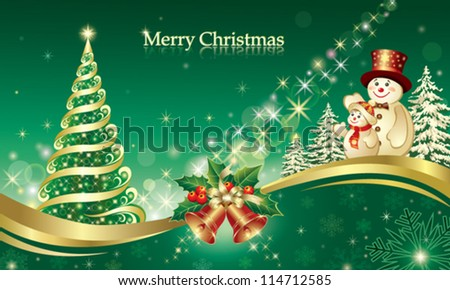 christmas postcard with snowman and xmas objects - stock vector