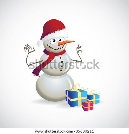 Christmas postcard with snowman - illustration - stock vector
