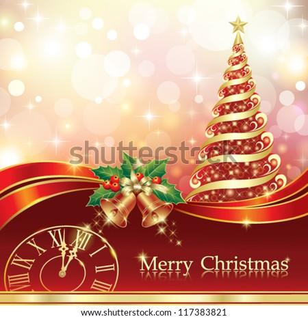 christmas postcard with xmas tree and holiday ring, clock - stock vector