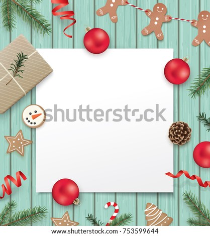 Christmas Poster Template With Gift Box, Ribbon, Christmas Ornaments, Pine  Cones, Cookies  Christmas Poster Template
