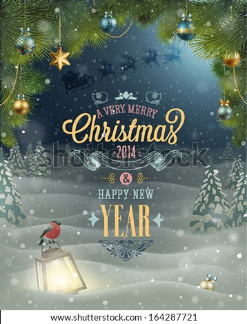 Christmas Poster. Vector illustration. - stock vector