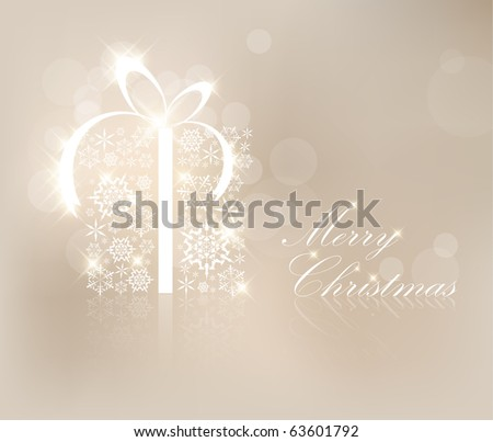 Christmas present box made from silver snowflakes - stock vector