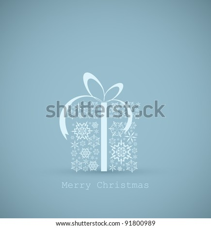 Christmas present box made from snowflakes - christmas card - stock vector