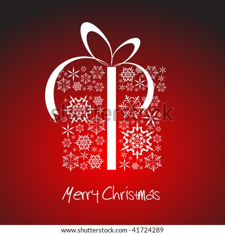 Christmas present box made from white snowflakes - stock vector