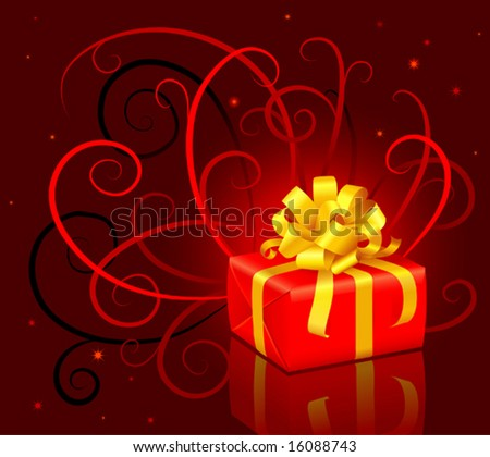 Christmas present box with a bow - stock vector