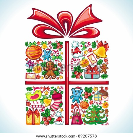 Christmas present, gift box, formed by different types of Christmas design elements and festive red ribbon, bow. colorful composition. - stock vector
