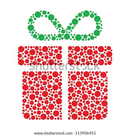 Christmas present made of circles - stock vector