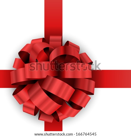 Christmas present red bow vector template isolated on white background. - stock vector