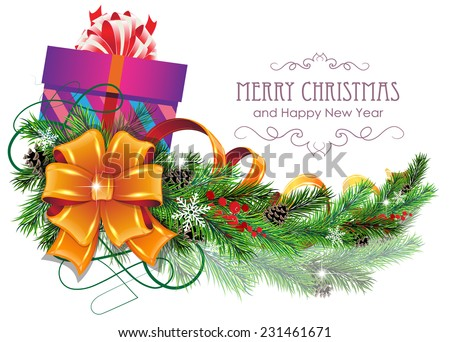 Christmas present with bow, ribbon and fir tree branches on white background - stock vector