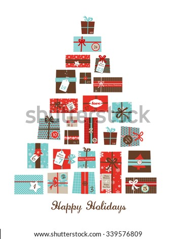 Christmas presents arranged as a seasonal tree. Christmas advent calendar - stock vector