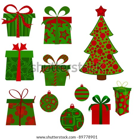 Christmas presents, tree and baubles. - stock vector
