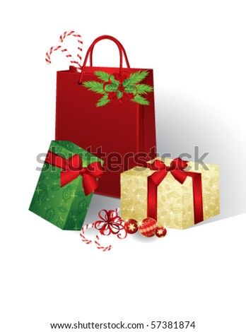 Christmas presents, vector - stock vector