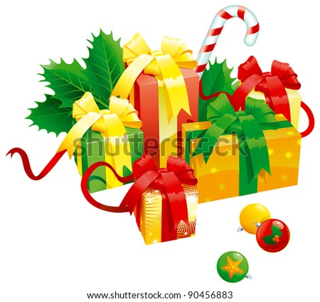 Christmas presents. Vector of christmas presents - gift boxes with bow, candy cane, baubles end holy leaves isolated on white background - stock vector