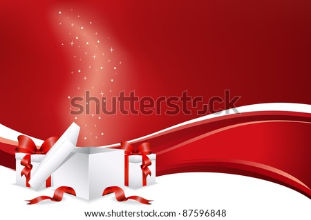 Christmas presents with red background - stock vector