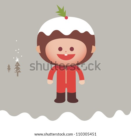 Christmas pudding character in snow