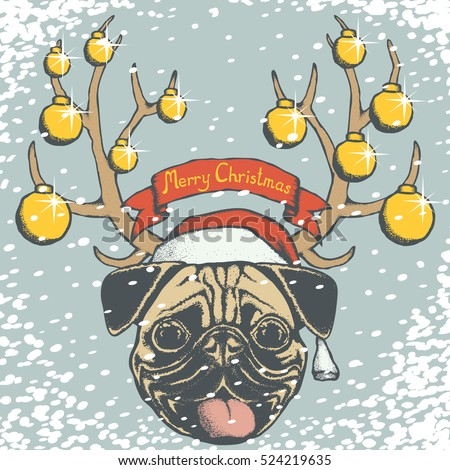 Christmas pug dog vector illustration. Pug dog head with Santa hat. Inscription Merry Christmas and snow
