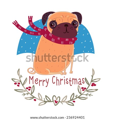 Christmas pug wearing a scarf - stock vector