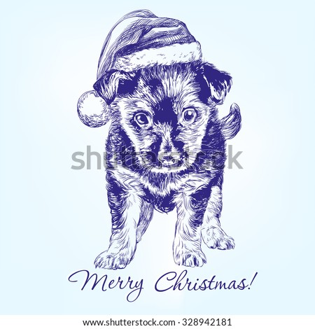 Christmas puppy in Santa stocking hat hand drawn vector illustration realistic sketch - stock vector
