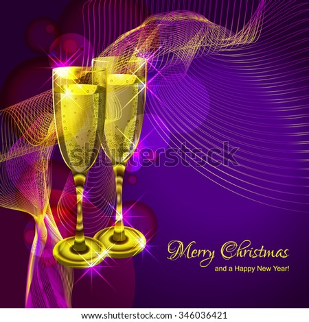 Christmas purple background with glasses of champagne. - stock vector