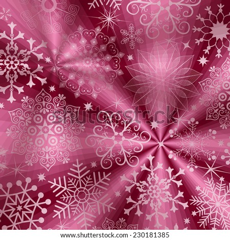 Christmas purple background with rays and snowflakes (vector eps 10) - stock vector