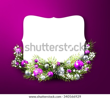 Christmas purple card with fir branch. Vector illustration. - stock vector