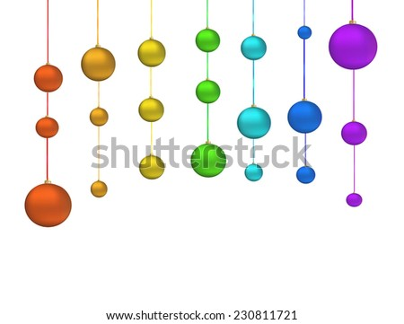 Christmas rainbow decoration, bubbles different size and color