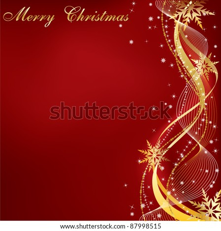 Christmas red and gold background with copy space, all elements on separate layers.