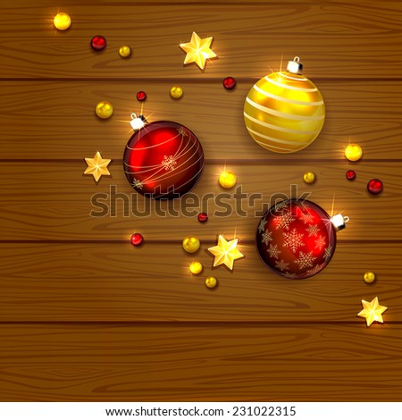 Christmas red and golden balls with decorative stars and  beads on wooden background, illustration. - stock vector