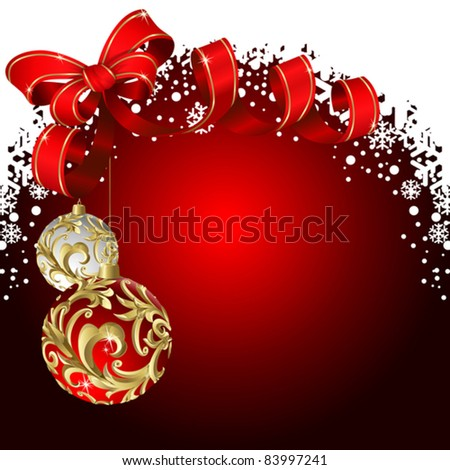 Christmas red background with balls and bow