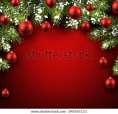 Christmas red background with fir branches and balls. Vector illustration. - stock vector