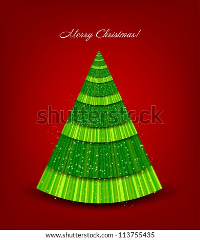 Christmas red background with green tree. Vector illustration - stock vector