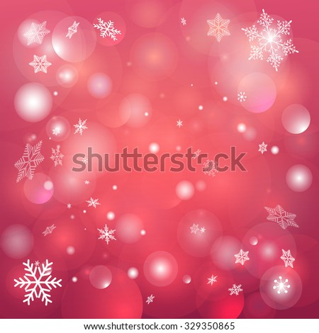 Christmas red background with snowflakes and twinkling snow - stock vector
